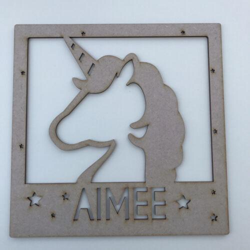 MDF Wooden Craft Shape Unicorn IKEA Square Box Frame Insert Unicorn Head /& Name