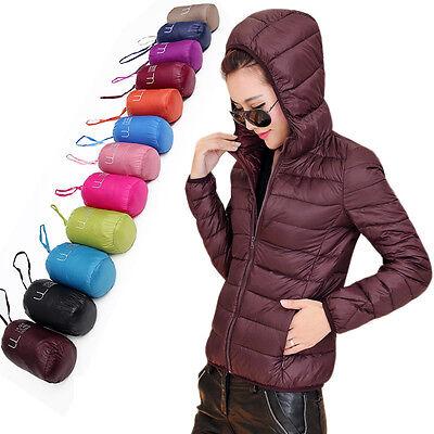 Womens Duck Down Hooded Puffer Jacket Coat Ultralight Outdoor Packable Fashion