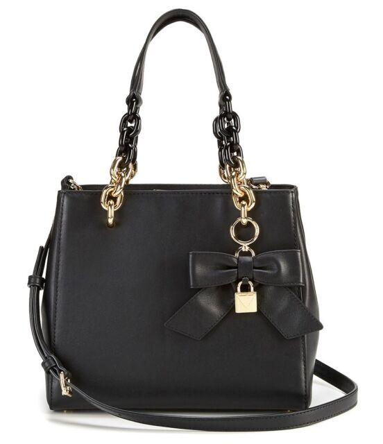 757a26083100 Michael Kors Cynthia Small Convertible Satchel Black Leather Bow +MK  dustbag NWT