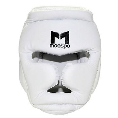 Boxing MMA Headgear Head Protectors Top Back Pads Hook Loop Closures White Black