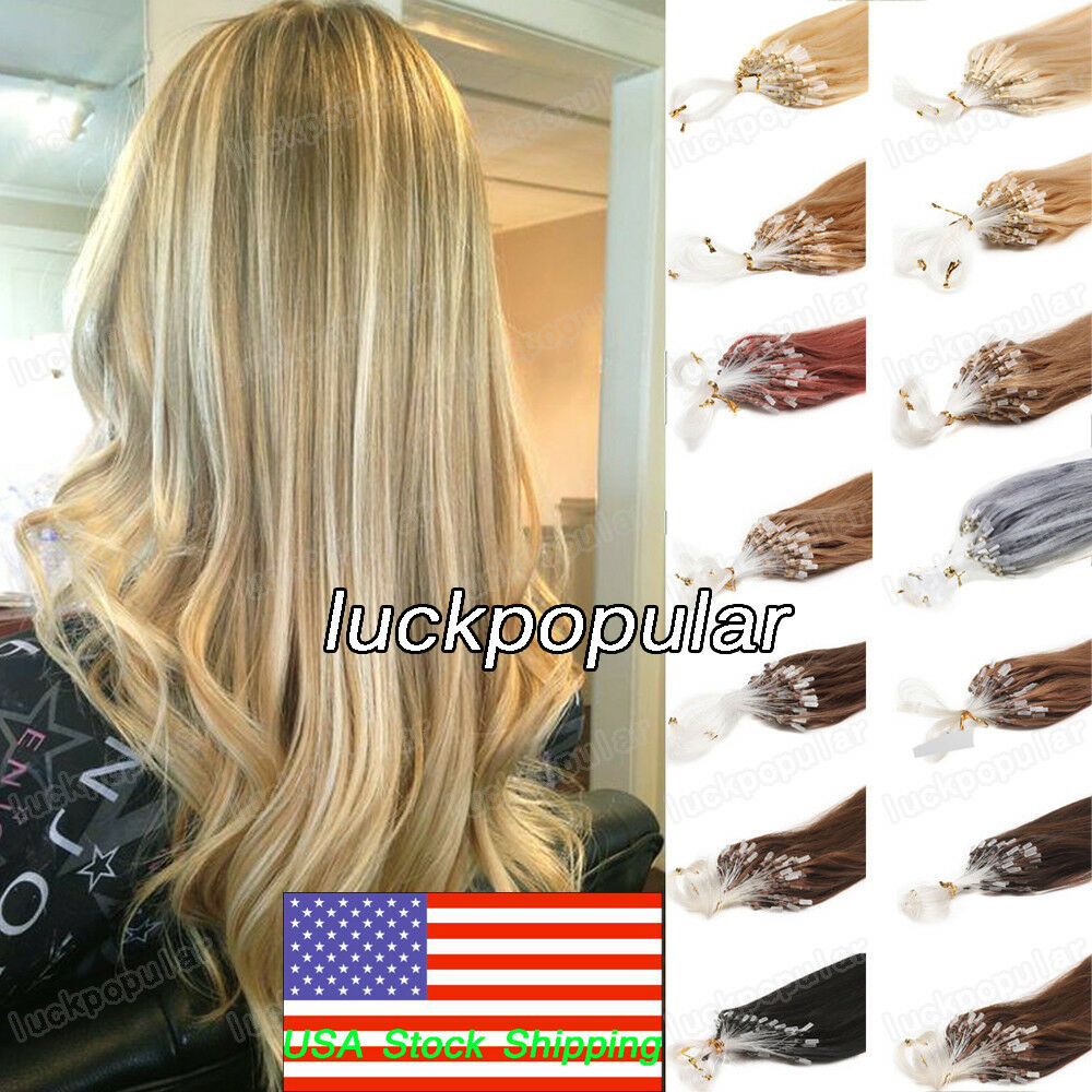 Us Silicone Micro Ring Beads Loop Tip Remy Human Hair Extensions 1g