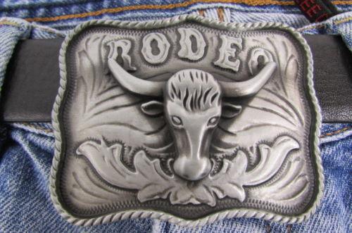Schnalle Mode Silber Bulle Metall Western Cowboy 3D Rodeo Lang Hörner Texas
