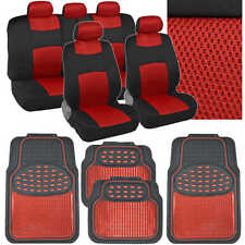 Sport Mesh Cloth Seat Covers w/ Metallic Heavy Duty Rubber Floor Mats in Red