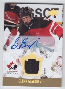 2015-16-UD-CANADA-JUNIORS-GLENN-GAWDIN-AUTO-PATCH-132-199-Game-Used-133-Flames