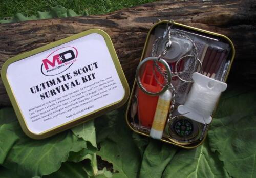 Md Ultimate Scout 60 Pièces Survie//Sécurité//Bushcraft Kit Cadeau Idéal