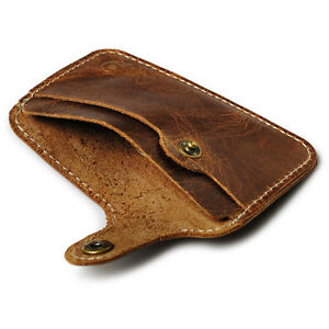 Men's Boys Vintage Brown Leather Button Wallets Credit Crad ID Holder·Purses