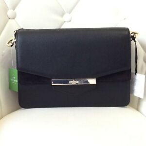 Kate-Spade-Kaela-Carmel-Court-Black-Leather-And-Suede-Women-s-Shoulder-Bag-NWT