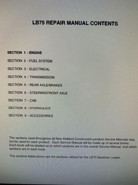 New Holland Lb75 Set Complete Service Manual