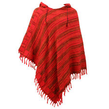 HIPPIE HOODED PONCHO SOFT FLEECE BLANKET FESTIVAL HOODIE - Reds