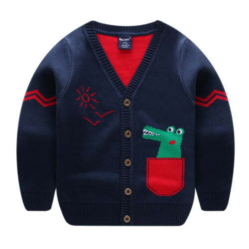 Kids Boys Girls Cartoon Sweater Cable Shawl Jumper Outwear Cardigan Knitwear UK