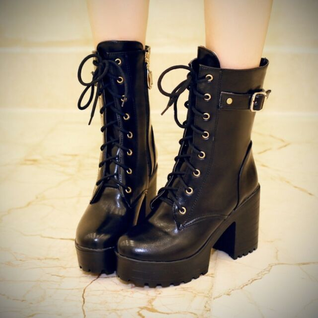 Womens Punk Chunky Heel Platform Lace Up Motor Military Combat Ankle Boots Shoes