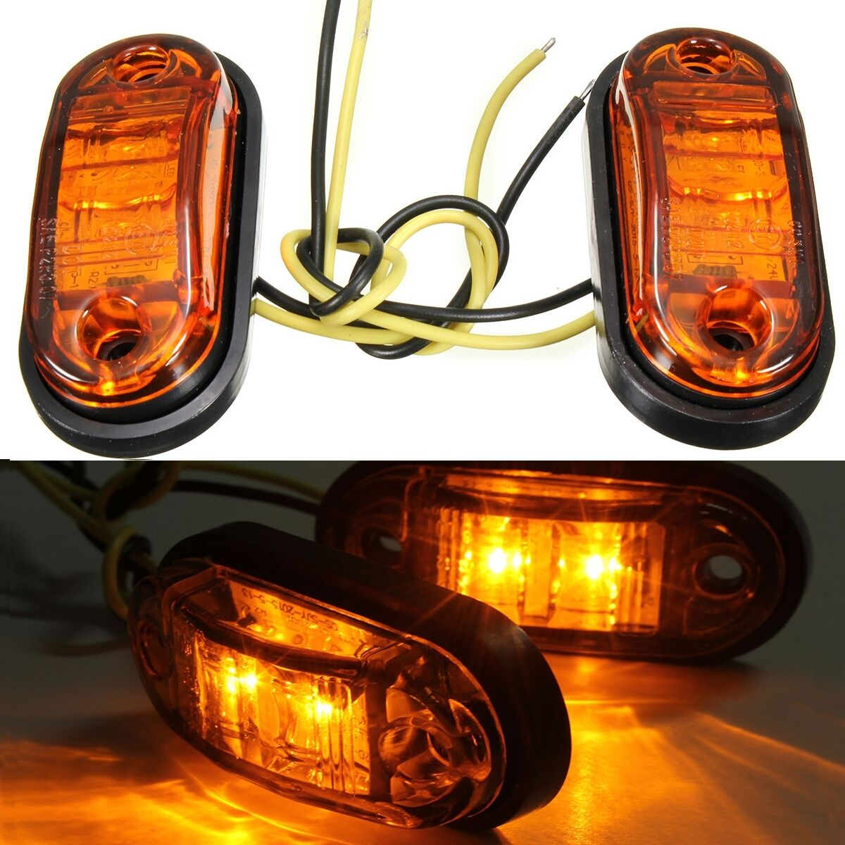 2x Car Truck Trailer 2LED 12V/24V Side Marker Amber Indicators Turn Signal Light