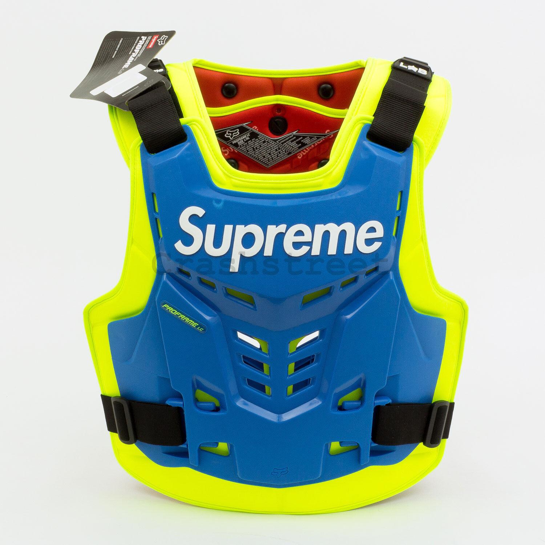 Supreme SS18 Fox  Racing Proframe Roost Deflector Vest camp box cap logo Royal  free shipping!