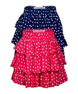 c2e362246 Girls Minoti Heart Print RaRa Skirt Layered Design Navy & Red 100 ...