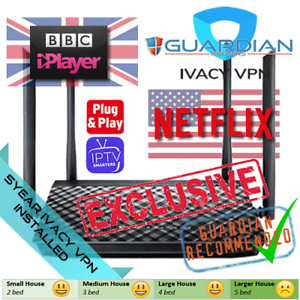 Details about ASUS RT-AC1200G+ 5 Year IVACY VPN Router Stream UK iPlayer US  TV Expats IPTV