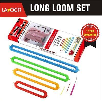 LAYOER Long Knitting Loom Set with Hook 2 Needles for Blanket Scarves Knitter 4 Looms