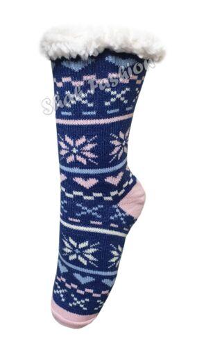 Ladies Thermal Bed Socks Warm Double Heath Insulated Sherpa Fleece Slipper Socks