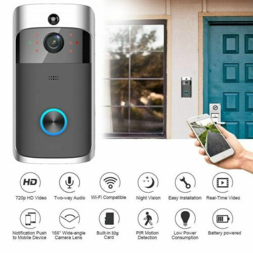 Wireless Smart WiFi DoorBell IR Video Visual Ring Camera Intercom Home Security