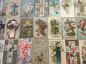 LOT-of-25-BEAUTIFUL-Antique-034-EASTER-CROSSES-034-with-Flowers-CROSS-POSTCARDS-s128