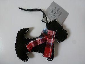image is loading gisela graham black felt stitched scottie dog christmas - Scottie Dog Christmas Decorations