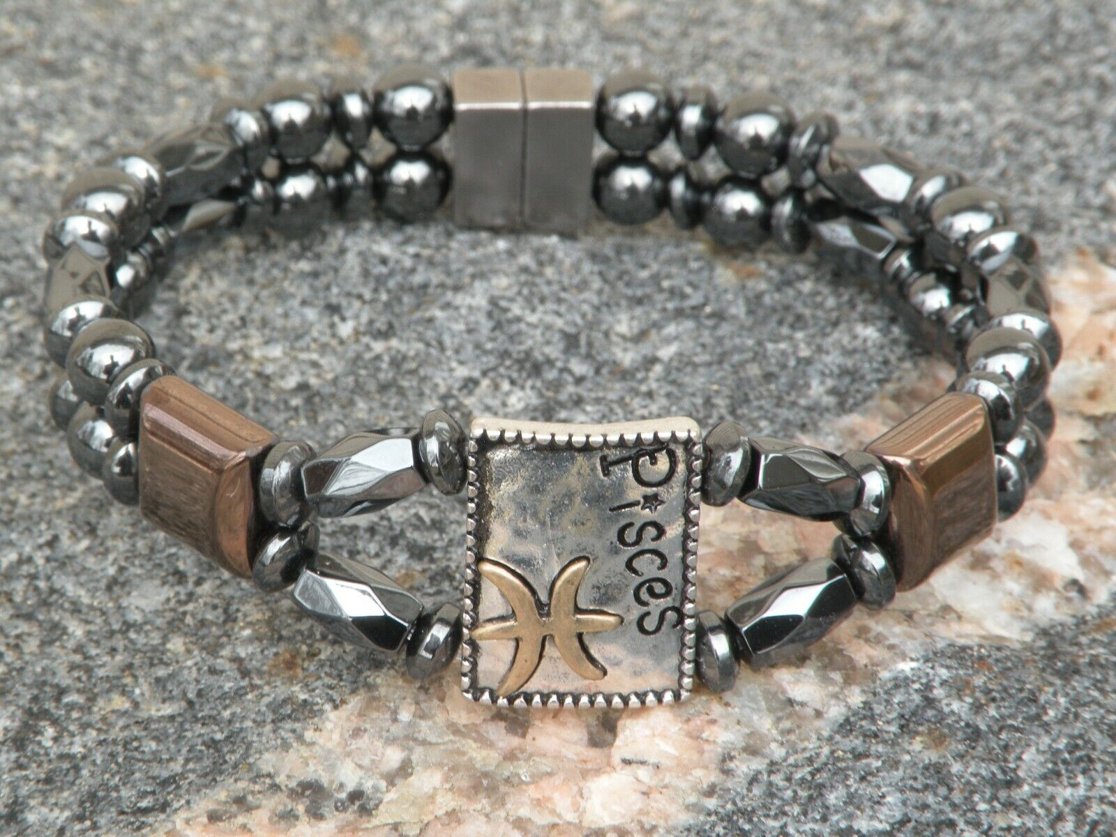 Men's Womens Pisces Magnetic Hematite Bracelet Anklet 2 Row Zodiac Feb 19-Mar 20