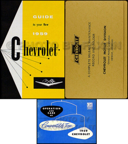 1959 Chevy Impala Convertible Owners Manual Set Owner Guide Top Book Envelope