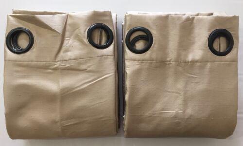 "2 NEW Pottery Barn Dupioni Silk 50x124/"" GROMMET Drapes w//BLACKOUT PARCHMENT"