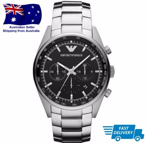 1 of 1 - Emporio Armani AR5980 Mens Black Dial & Silver Metal Bracelet Chronograph Watch