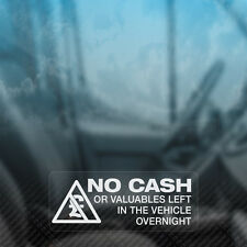 3x no Efectivo o los objetos de valor izquierda durante la noche Seguridad Auto, Camioneta, ventana calcomanía de pegatinas