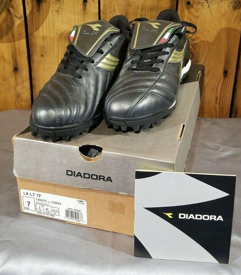 Diadora lx luz Roscada Horquilla Turf Zapato De Fútbol Para Hombres Talla 7 Negro y oro 148476 Envíos Gratis