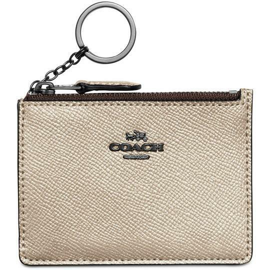 Coach Women's Mini Skinny ID Case Wallet key chain Leather GM/Platinum