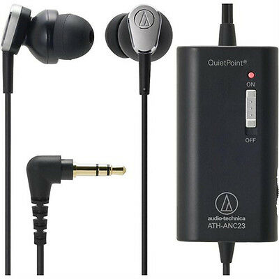 Audio-Technica ATH-ANC23 QuietPoint Active Noise-Cancelling In-Ear Headphones