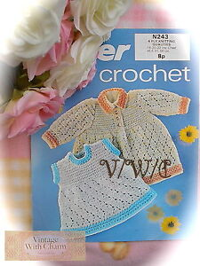 JUST £1.69!! 2 Sizes Vintage 70s Crochet Pattern Little Girl /& Baby/'s Dress