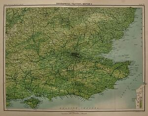Se England Map.1898 Large Victorian Uk Map England Se Geographical Features