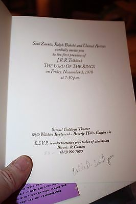 Movie Memorabilia Entertainment Memorabilia Supply Invitation November 3 1978 First Preview To The Lord Of The Rings Good Taste