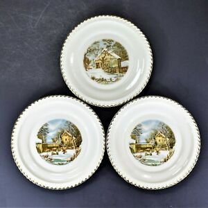 Harker Currier & Ives Bread & Butter Plates (3)
