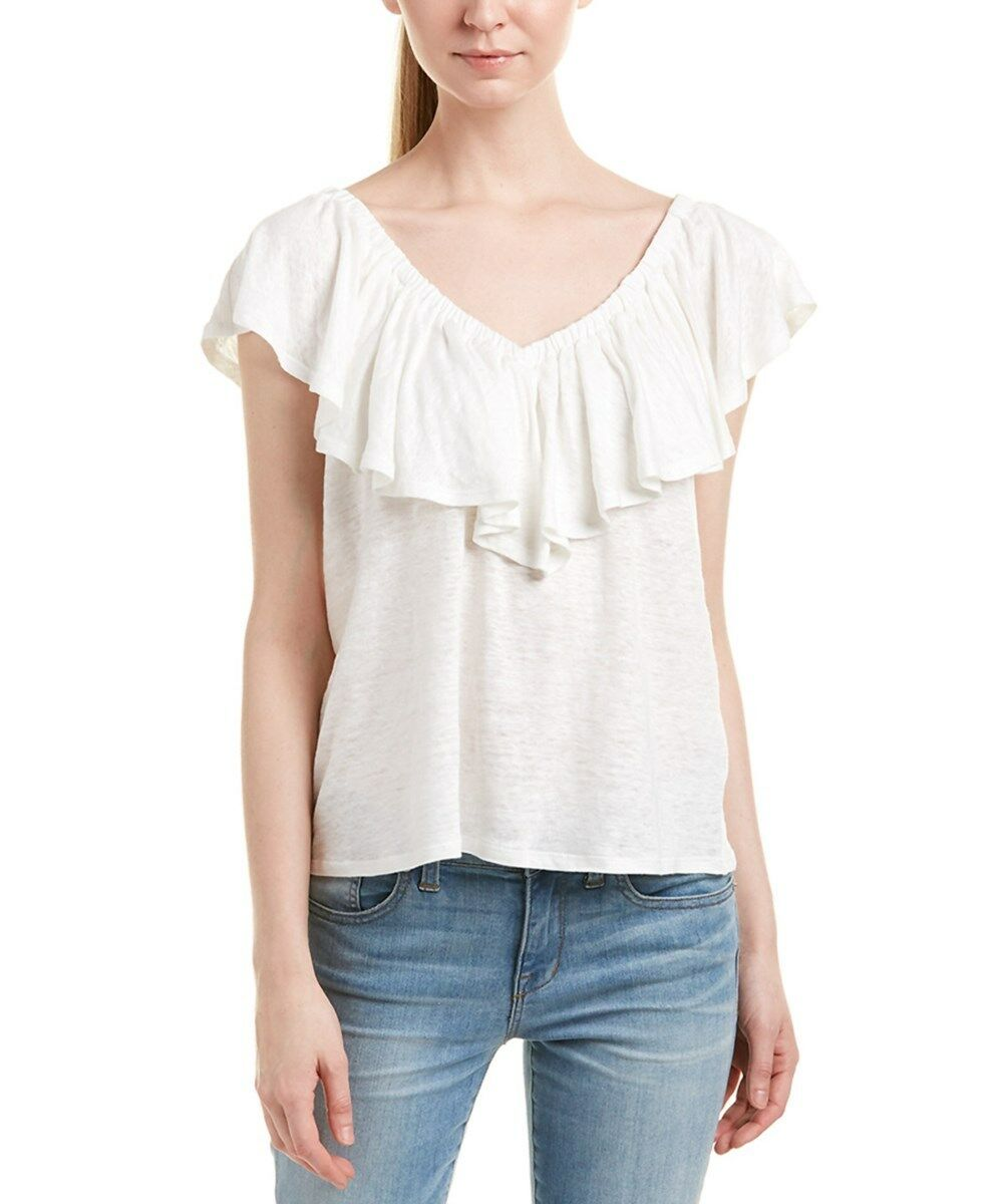 Rebecca Taylor Off On Shoulder Jersey Linen Tee Top Snow Weiß L Nwt
