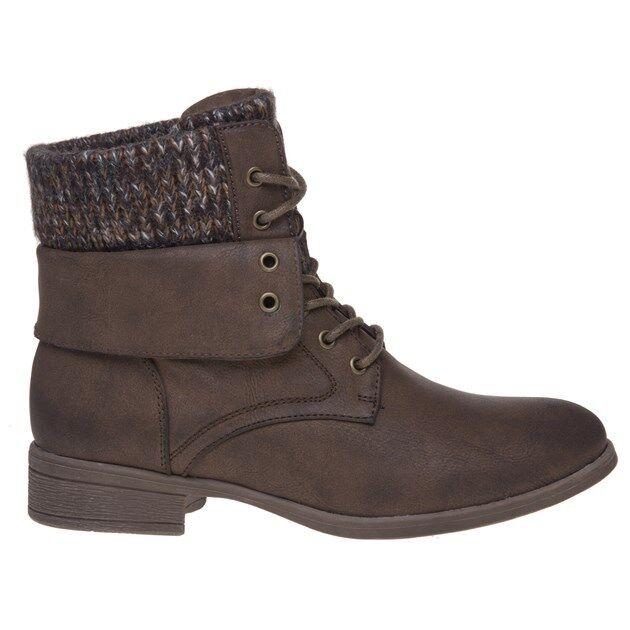 New Pu Damenschuhe SOLESISTER Braun Bonnie 2 Pu New Stiefel Ankle Lace Up 9e21d7