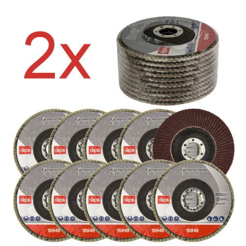 2x Fächerscheiben 10er Set K120 125mm Winkelschleifer Schleifscheibe 923521