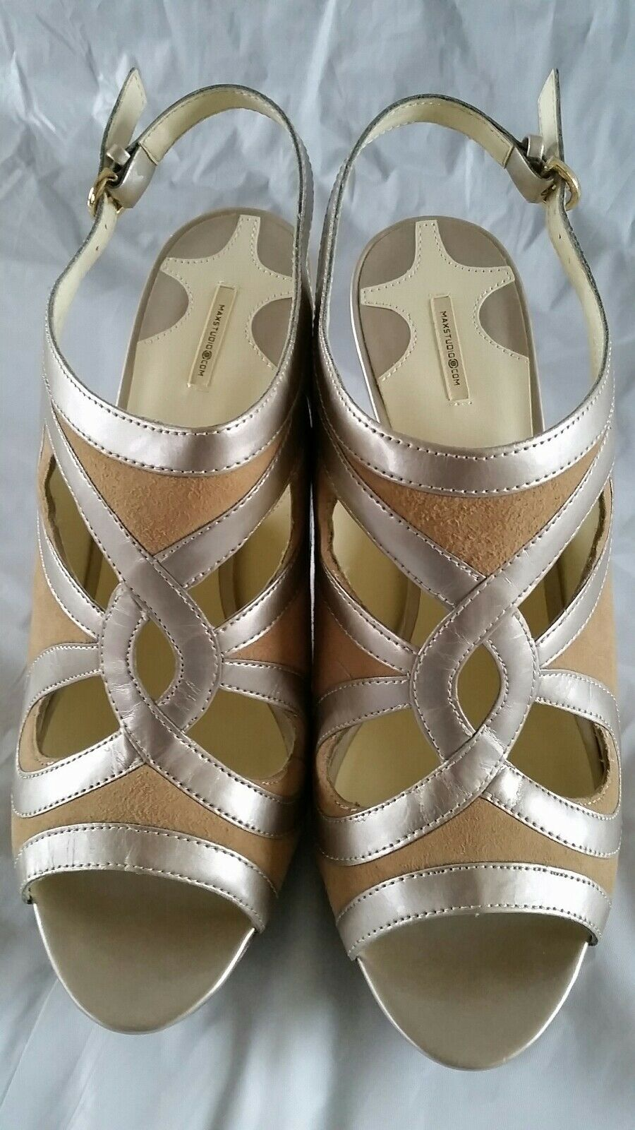 Max Studio Heels Metallic Calf Size 8.5