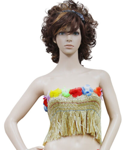 New Ladies Girls Hawaiian Hula Grass Bra Flower Straw Lei Beach Fancy Dress