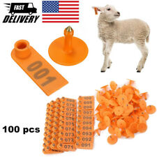 100 Sets Ear Tag Plastic Animal Tag Livestock Ear Number Tag For Pig Cow Goat