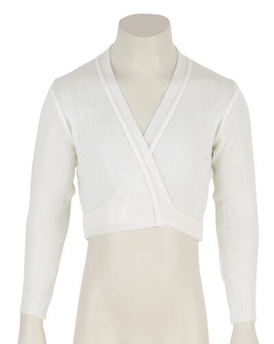 Girls Childrens White Ballet Dance Crossover Cardigan All Sizes By Katz