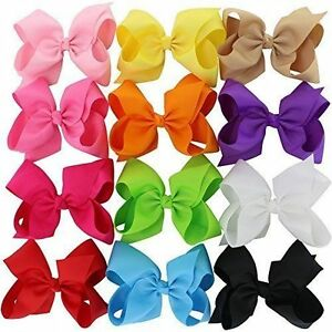 Baby Girls 12 Solid Colors 6 Inch Hair Bows Big Huge Grosgrain