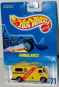 Hot Wheels Ambulance Yellow Collector #71 Malaysia 1997 Black Windows Sp7/'s