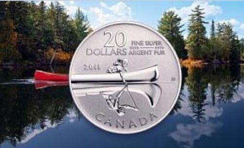 2011 Canada $20 Canoe Dollars Commemorative .9999 Fine Silver coin round pure