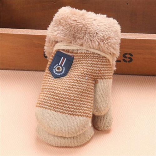 Kids Winter Warm Gloves For Baby Boy Girl Cute Thick Knitting Wool Mittens OO