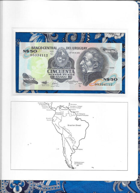 Banknote Uruguay 50 New Pesos 1989 P61A UNC 05334112 Serie G