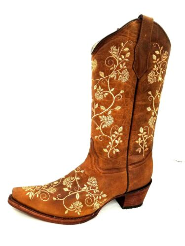 WOMEN/'S CIRCLE G BY CORRAL WESTERN BOOT L5443 BROWN /& TAN EMBROIDERY