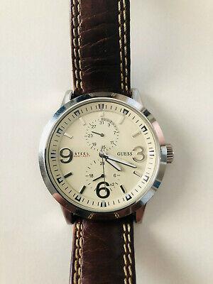 Reloj GUESS G85902G vintage correa de piel marron movimiento japones | eBay